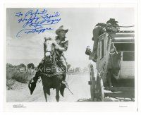 8s091 ROY ROGERS signed 8x10 REPRO still '80s great image riding on Trigger beside stagecoach!