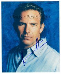 8s072 KEVIN COSTNER signed color 8x10 REPRO still '02 head & shoulders portrait on blue background!