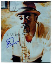 8s060 DON CHEADLE signed color 8x10 REPRO still '02 cool close up of the actor playing saxophone!