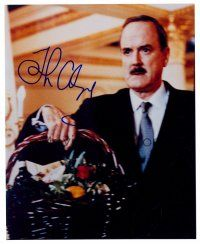 8s070 JOHN CLEESE signed color 8x10 REPRO still '00s c/u of the English star holding fruit basket!