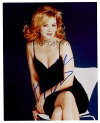 8s074 KIM CATTRALL signed color 8x10 REPRO still '03 waist-high portrait of the star in sexy dress!