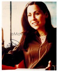 8s084 MINNIE DRIVER signed color 8x10 REPRO still '02 portrait of the pretty star smiling!