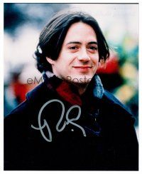 8s089 ROBERT DOWNEY JR. signed color 8x10 REPRO still '01 smiling portrait with long hair!
