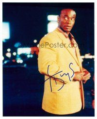 8s093 TAYE DIGGS signed color 8x10 REPRO still '02 waist-high portrait buttoning his jacket!
