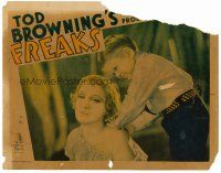 8t002 FREAKS LC '32 Tod Browning classic, Harry Earles gives Baclanova as sensuous back rub!