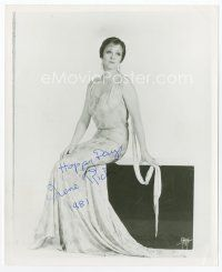 9a062 IRENE RICH signed 8x10 REPRO still '81 great full-length seated portrait in cool dress!