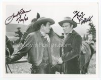9a063 JACK ELAM/GENE EVANS signed 8x10 REPRO still '96 in cowboy outfits glaring at each other!