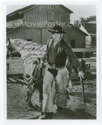 9a065 JAMES DRURY signed 8x10 REPRO still '97 great portrait in cowboy outfit with horse by fence!