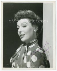 9a077 LORETTA YOUNG signed 8x10 REPRO still '80s head & shouldewrs portrait in polka dot outfit!