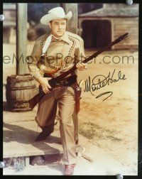 9a080 MONTE HALE signed 8x10 REPRO still '80s full-length cowboy portrait holding rifle!
