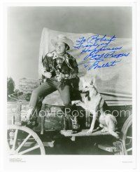 9a085 ROY ROGERS signed 8x10 REPRO still '80s great portrait with his German Shepherd dog Bullet!