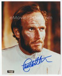 9a052 CHARLTON HESTON signed color 8x10 REPRO still '90s in costume from Planet of the Apes!