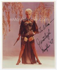 9a067 JANET LEIGH signed color 8x10 REPRO still '87 full-length in sexiest cowgirl costume!