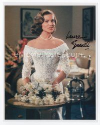 9a075 LAUREN BACALL signed color 8x10 REPRO still '90s full-length portrait in sexy lace dress!