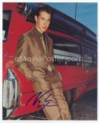 9a081 NOAH WYLE signed color 8x10 REPRO still '00s full-length in really fancy suit leaning on car!