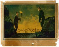 9b001 FRANKENSTEIN LC '31 best close up Colin Clive staring at Boris Karloff as the monster!