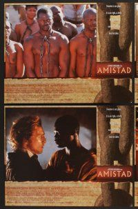 9c065 AMISTAD 8 LCs '97 Steven Spielberg directed, Morgan Freeman, Anthony Hopkins!