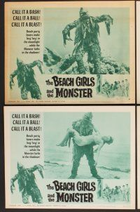9c080 BEACH GIRLS & THE MONSTER 8 LCs '65 classic schlocky grade-Z movie, music by Frank Sinatra Jr