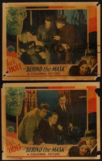 9c004 LOT OF 5 'FOUND IN A BARN' BEHIND THE MASK LOBBY CARDS 5 LCs '32 Jack Holt, Boris Karloff!