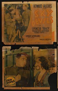 9c005 LOT OF 6 'FOUND IN A BARN' SKY DEVILS LOBBY CARDS 6 LCs '32 Howard Hughes, Spencer Tracy!