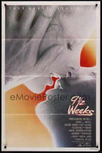 9e027 9 1/2 WEEKS 1sh '86 Mickey Rourke, Kim Basinger, sexiest close up kissing image!