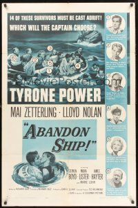 9e029 ABANDON SHIP 1sh '57 Tyrone Power & 25 survivors in a lifeboat which can hold only 12!