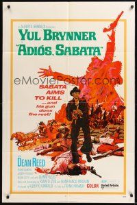 9e036 ADIOS SABATA 1sh '71 Yul Brynner aims to kill, and his gun does the rest!