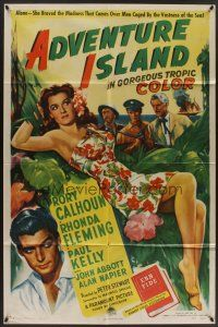 9e037 ADVENTURE ISLAND style A 1sh '47 art of sexy full-length Rhonda Fleming in sarong!