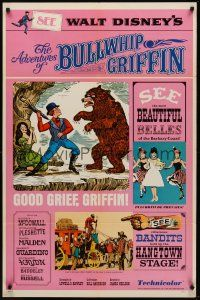 9e038 ADVENTURES OF BULLWHIP GRIFFIN style B 1sh '66 Disney, beautiful belles, mountain ox battle!