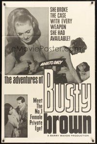 9e039 ADVENTURES OF BUSTY BROWN 1sh '64 Barry Mahon sexploitation, sexy Laurie Dane in title role!