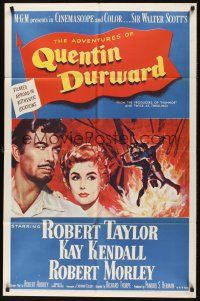 9e043 ADVENTURES OF QUENTIN DURWARD 1sh '55 English hero Robert Taylor romances pretty Kay Kendall!