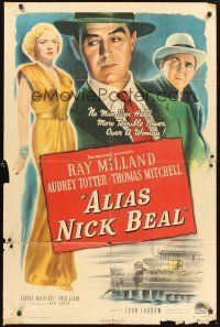 9e049 ALIAS NICK BEAL 1sh '49 Ray Milland must murder Thomas Mitchell for Audrey Totter's love!