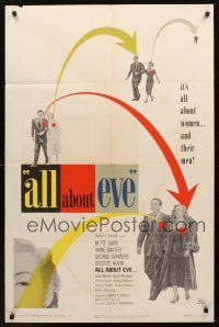 9e001 ALL ABOUT EVE 1sh '50 Bette Davis & Anne Baxter classic, Marilyn Monroe shown!