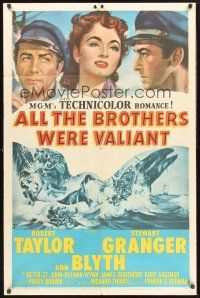 9e055 ALL THE BROTHERS WERE VALIANT 1sh '53 Robert Taylor, Stewart Granger, cool whaling artwork!