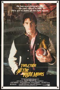 9e057 ALL THE RIGHT MOVES 1sh '83 close up of high school football player Tom Cruise!