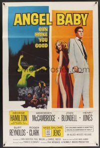 9e071 ANGEL BABY 1sh '61 full-length George Hamilton standing with sexiest Salome Jens!