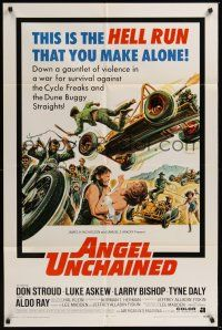 9e072 ANGEL UNCHAINED 1sh '70 AIP, bikers & hippies, this is the hell run that you make alone!