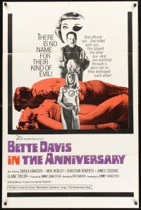 9e075 ANNIVERSARY int'l 1sh '67 Bette Davis with funky eyepatch in English horror!