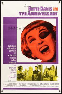 9e074 ANNIVERSARY 1sh '67 Bette Davis with funky eyepatch in another portrait in evil!