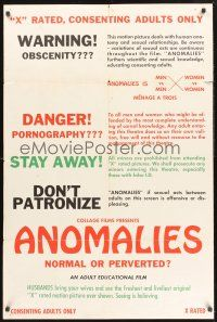9e076 ANOMALIES 1sh '70s sex, Menage a trois, normal or perverted, for consenting adults only!