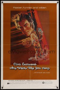 9e077 ANY WHICH WAY YOU CAN 1sh '80 cool artwork of Clint Eastwood & Clyde by Bob Peak!
