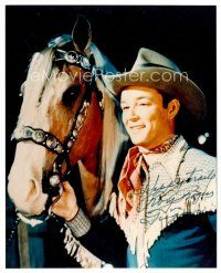 9g108 ROY ROGERS signed color 7.5x9.5 REPRO still '80s great close portrait smiling with Trigger!