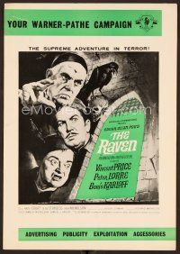 9g353 RAVEN English pressbook '63 art of Boris Karloff, Vincent Price & Peter Lorre!