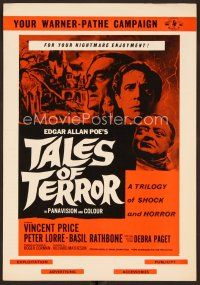 9g376 TALES OF TERROR English pressbook '62 Peter Lorre, Vincent Price & Basil Rathbone!