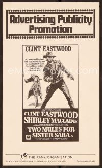 9g382 TWO MULES FOR SISTER SARA English pressbook '70 unslinger Clint Eastwood & Shirley MacLaine!