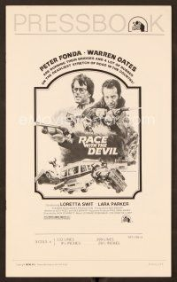 9g348 RACE WITH THE DEVIL pressbook '75 Peter Fonda & Warren Oates are burning bridges & rubber!
