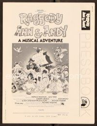 9g350 RAGGEDY ANN & ANDY pressbook '77 A Musical Adventure, cartoon artwork!