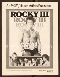 9g357 ROCKY III pressbook '82 great image of boxer & director Sylvester Stallone w/gloves & belt!