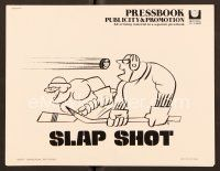 9g365 SLAP SHOT pressbook '77 cool wacky artwork of hockey players by R.G.!