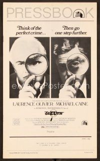 9g366 SLEUTH pressbook '72 Laurence Olivier & Michael Caine, cool magnifying glass image!